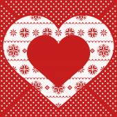 Greeting card with red heart decorated northern ornament — Stockvektor
