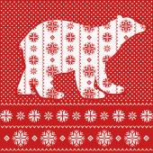 Christmas card with ornamental polar bear — Vector de stock