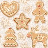 Seamless pattern with christmas ginger cookies — Stock Vector