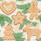 Christmas tree and ginger cookies. Vector seamless pattern. — Stock Vector