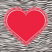 Greeting card with zebra texture and heart — Stockvector