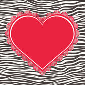 Greeting card with zebra texture and heart — Stock vektor