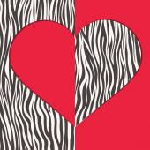 Valentine card with heart shape and zebra texture — Stock Vector