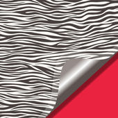 Zebra texture and red background — Vector de stock