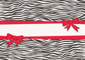 Card with zebra texture and red ribbons — Vettoriale Stock