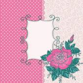 Пригласительная открытка с розовой розы — Cтоковый вектор