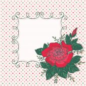 Vintage card with rose flower and frame — Vector de stock