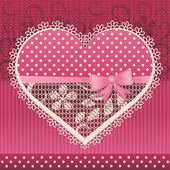 Valentine card with lace heart — Stock Vector