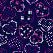 Seamless pattern with night violet hearts — Stock Vector