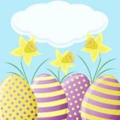 Nergis ve yumurta Paskalya kartı — Stok Vektör