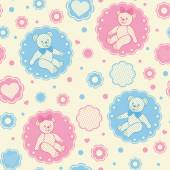 Seamless pattern with teddy bears — Stock Vector