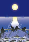 Fishermen at sea — Stock Vector