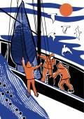 Fishing at the sea — Stock Vector