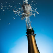 Champagne cork popping — Stock Photo