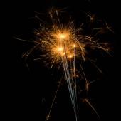 Fireworks sparklers on black — Stock Photo