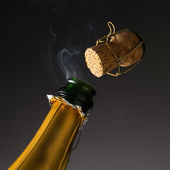 Champagne with cork steam  — Stock Photo