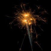 Fireworks sparklers on black — Stock Photo