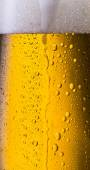 Overflowing beer in a glass with dew drops — Stock Photo