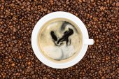 Fresh coffee in a white cup — Stock Photo