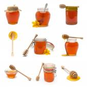 Honey pot and honey dipper set collage — Stock Photo