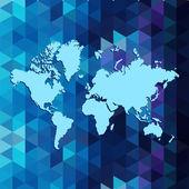 World map on geometric triangle pattern design, — Vetor de Stock