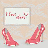 High heels shoes retro style post card — Stock Vector