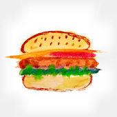 Hand Drawn Hamburger, watercolor Sketch — Wektor stockowy