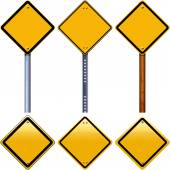 Blank yellow rhombus road signs — Stock Photo