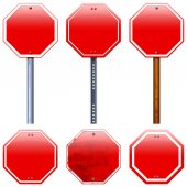 Blank red road stop signs — Stock Photo