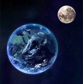Earth and moon as seen from space. — Stock Photo
