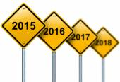 Years ahead road signs. — Stock Photo