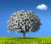 Tree made of hundred dollar banknotes. — Stock Photo