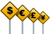 Symbols of monetary currencies in the world on the road signs. — Stock Photo