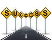 Success ahead road signs and road stretches into the distance. — Stock Photo