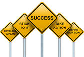 Road signs to success. — Stock Photo