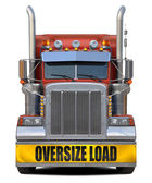 Oversize load red truck. — Stock Photo