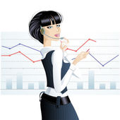 Girl in the business. — Stock Vector