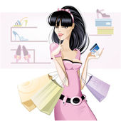 Brunette girl shopping. — Stock Vector