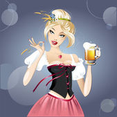 Sexy woman, blonde and beer — Stock Vector