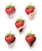 Beautiful strawberries in chocolate and sugar with coconut. a lot of options. vector realistic illustration — Stock Vector