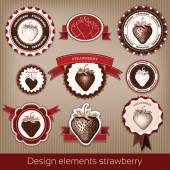 Set of vintage and modern icons of strawberries. Badges and stickers. vector. — Stock Vector