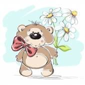 Nice little bear and a bouquet of flowers. Vector illustration. — Stock Vector