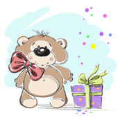 Nice little bear cub with a gift. Vector illustration. — Stock Vector