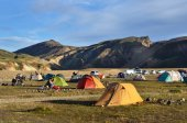 Iceland, Landmannalaugar, riolit mountains, campground — Stock Photo