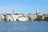 Iceland,  panorama of Reykjavik from the side of the Tyernin lake — Stock Photo