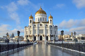 The Cathedral of Christ the Savior, the Patriarchal bridge, Moscow — Stock Photo