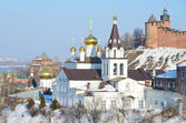 The Church of Elijah the Prophet and the Kremlin. Nizhny Novgorod, Russia — Foto de Stock
