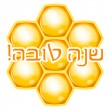 Vector Shana Tova (Happy new year) icon with honeycomb — Stock Vector #57510943