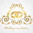 Vector wedding invitation with gold rings — Stock Vector #57512097