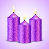 Vector illustration of purple candles — Stok Vektör